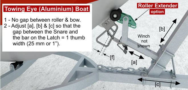 "1 - No gap between roller & bow. 2 - Adjust [a], [b] & [c] so that the       gap between the Snare and        the bar on the Latch = 1 thumb        width (25 mm or 1""). [f] [a] [b] [c] Winch  not  shown Roller Extender Towing Eye (Aluminium) Boat option"