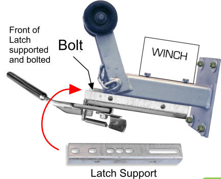 Latch Support Bolt Front of Latch supported and bolted